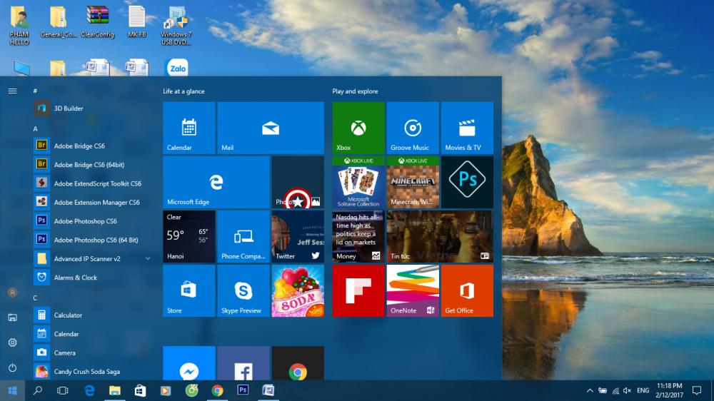 Hướng dấn tùy biên thanh taskbar trên windows 10 trong suốt hoàn toàn