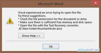 Cách sửa lỗi Microsoft Excel - Word 2013 Cannot Open Or Save Any More Documents Because There Is Not Enough Available